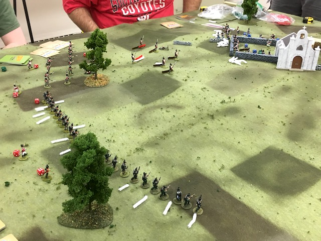 British Rifles try to suppress the French defenders.  The white pipe cleaners mark that the men have fired.
