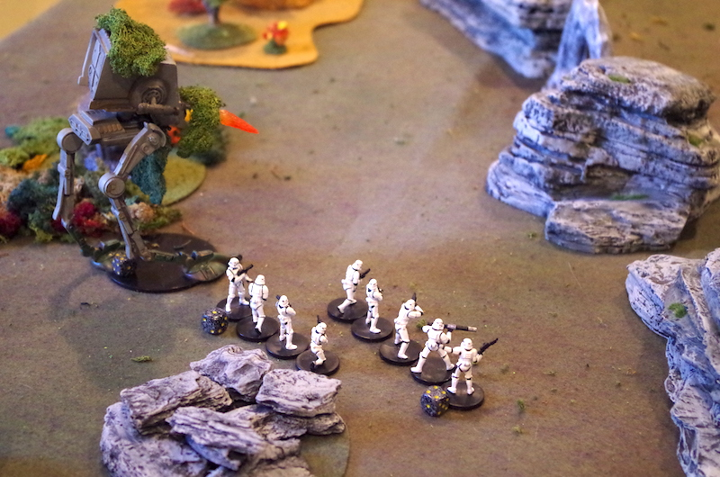 "Stormtroopers and a ""chicken walker"" advance"