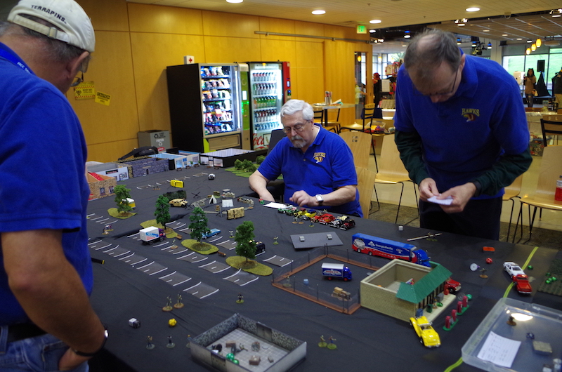 Bruce, the big winner for the day, quietly gathered up supplies while herding zombies toward the inexperienced players.