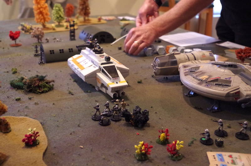A blast from the chicken walker goes long, inflicting no damage on the Rebels.