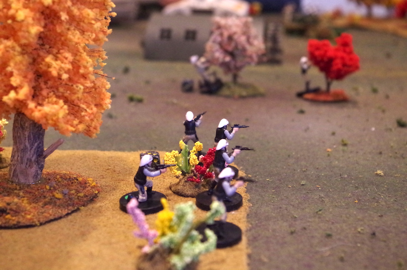 Rebels take up a defensive position along the wood line on the Rebel right.
